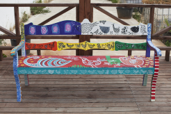 Bench #4 (2015) - Acrylic and varnish on iroko wooden bench - 86H x 167W x 46D cm.